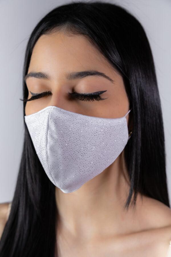 Máscara prata glitter - Atelier Fernanda Baião Alta Costura, Estilista Ubá e Juiz de Fora