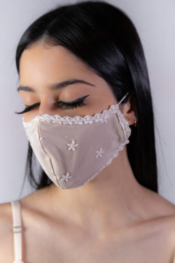 Máscara rosê glitter - Atelier Fernanda Baião - Alta Costura - Vestidos de Festa - Vestidos de
